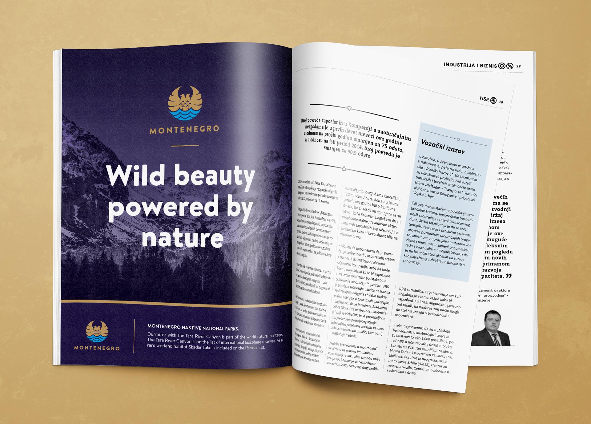 Dizajn novinskog oglasa nacionalnog brenda Crne Gore Montenegro