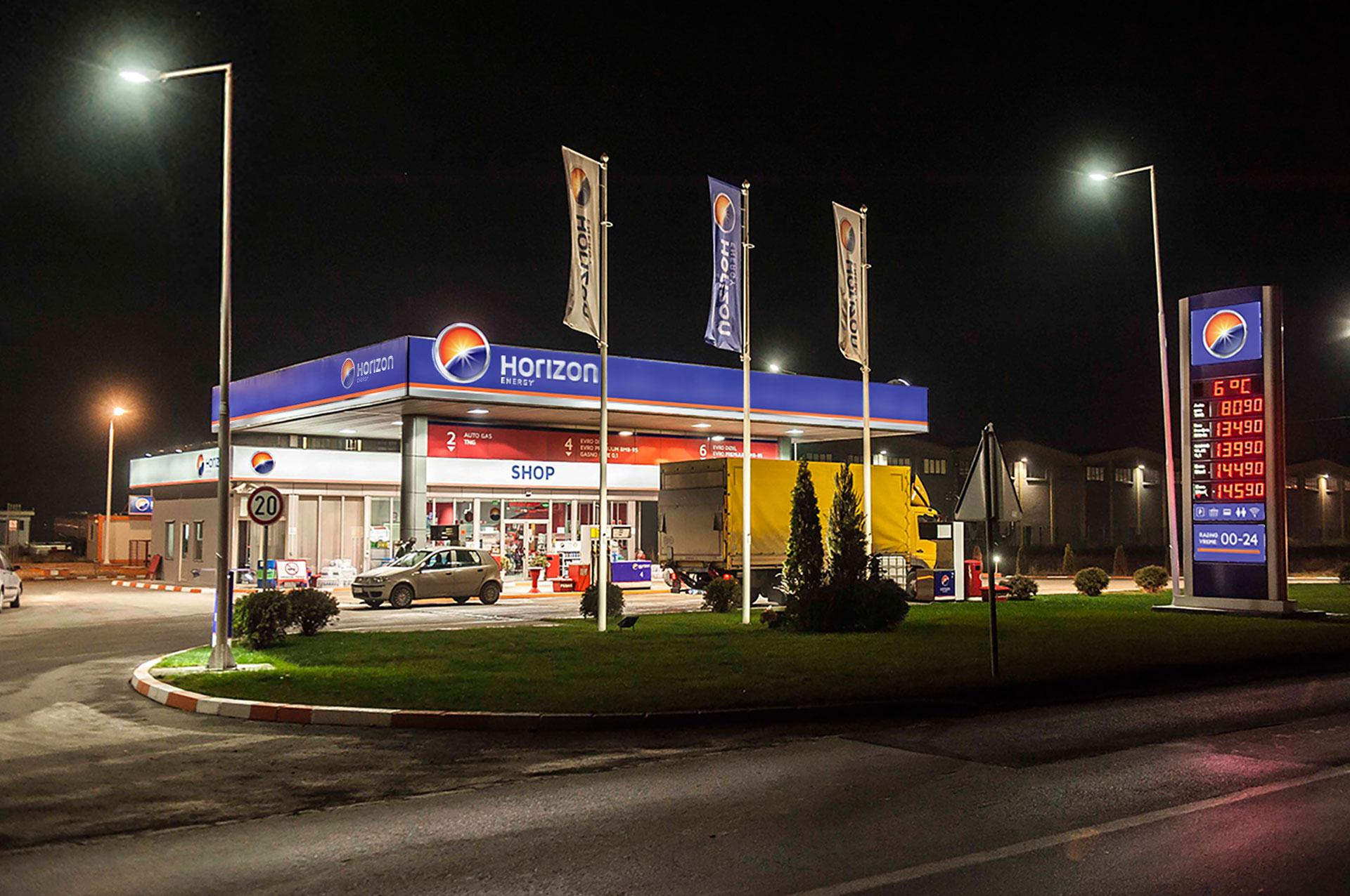 Dizajn i brendiranje benzinske stanice za Horizon Energy