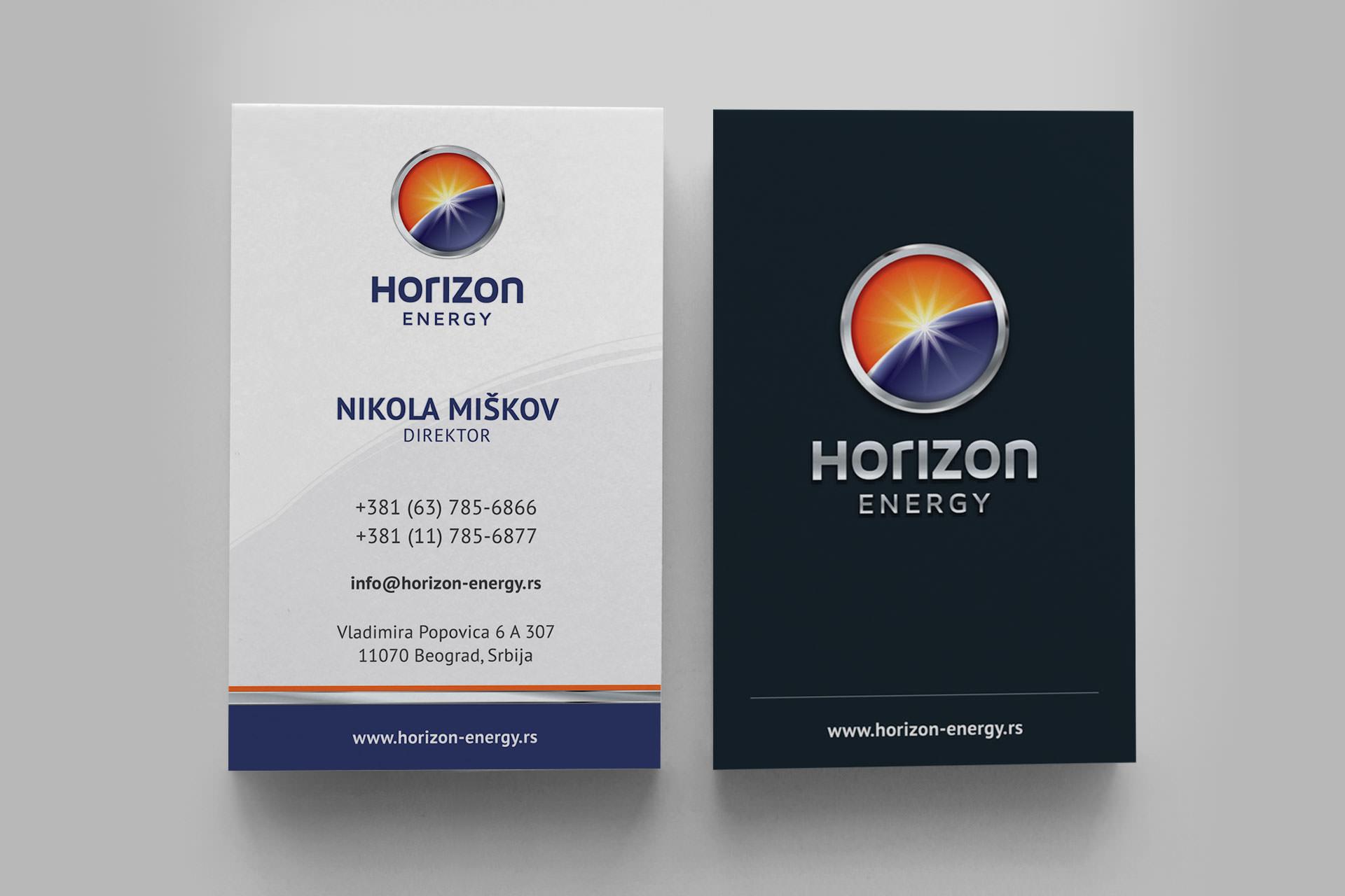 Dizajn vizit karte za Horizon Energy
