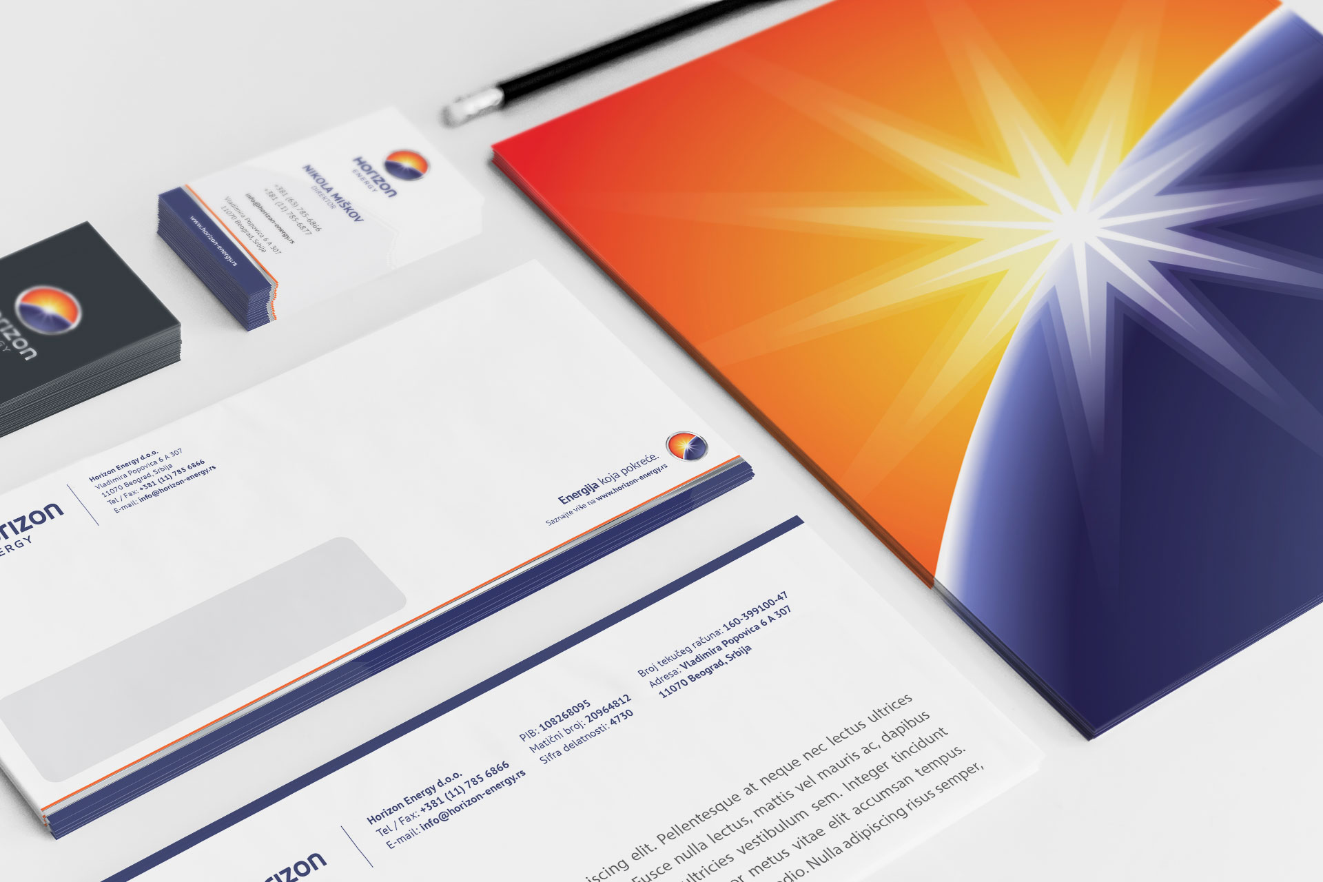 Dizajn poslovnih papira za Horizon Energy