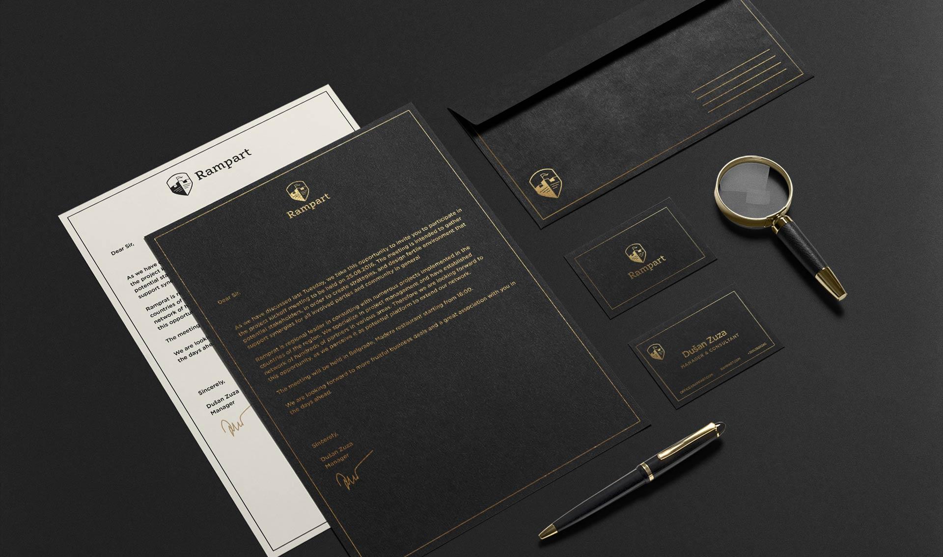 Dizajn poslovnih papira za Rampart konsultantsku agenciju