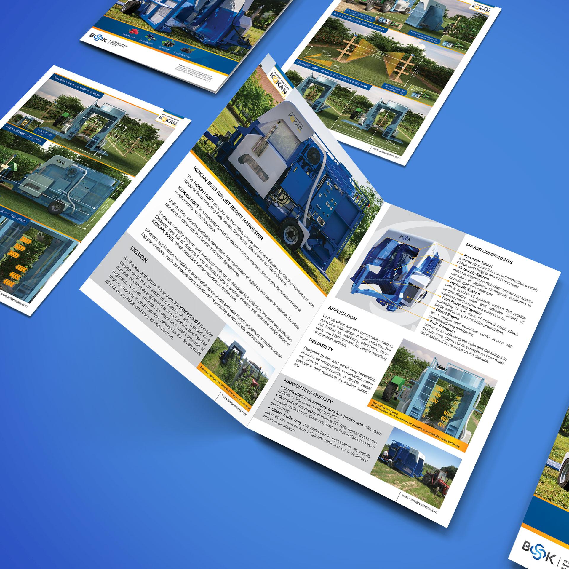 Dizajn i izrada brošure za Kokan vazdušni berač voća kompanije BSK iz Obrenovca