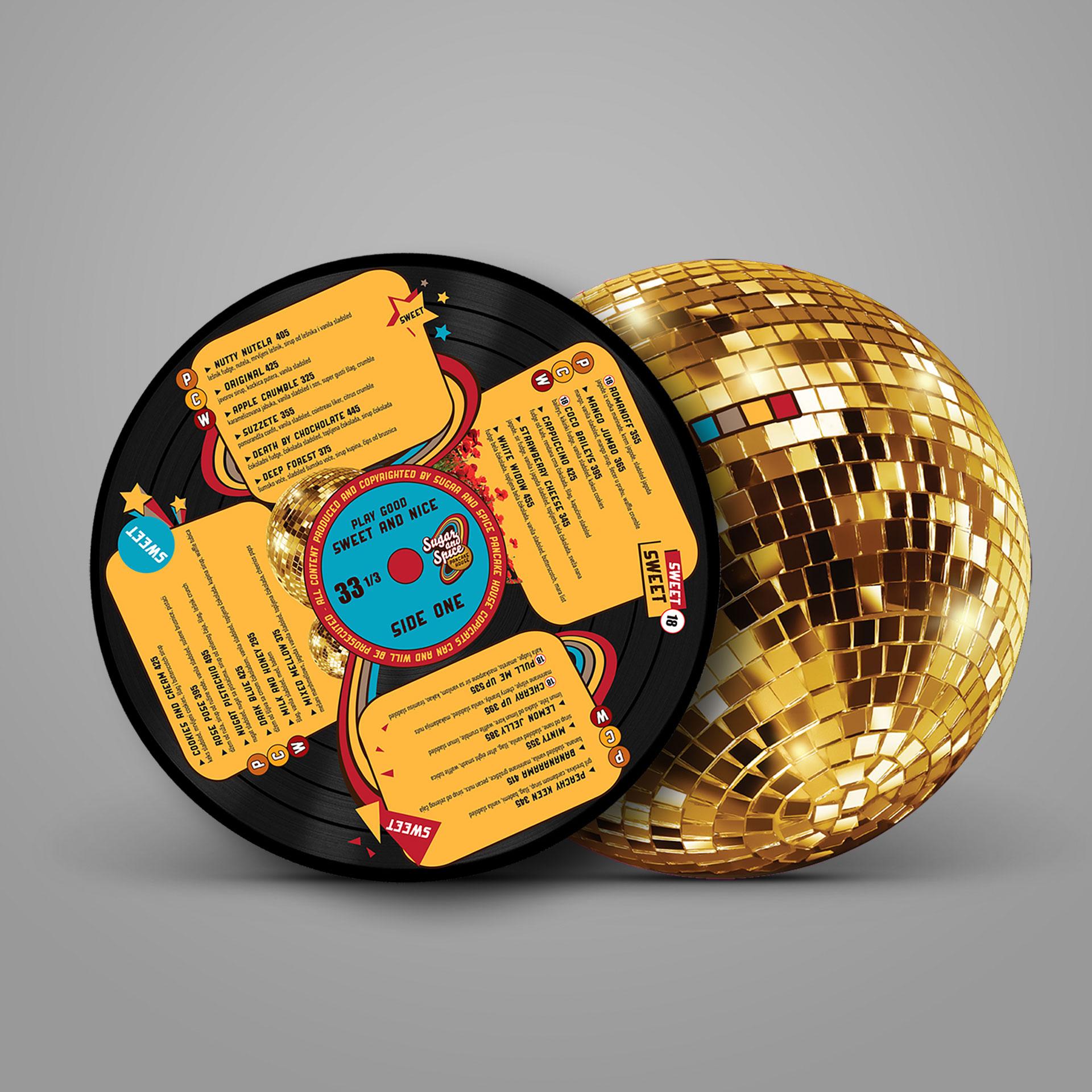 Dizajn flajera u obliku gramfonske ploče za za Sugar and Spice restoran
