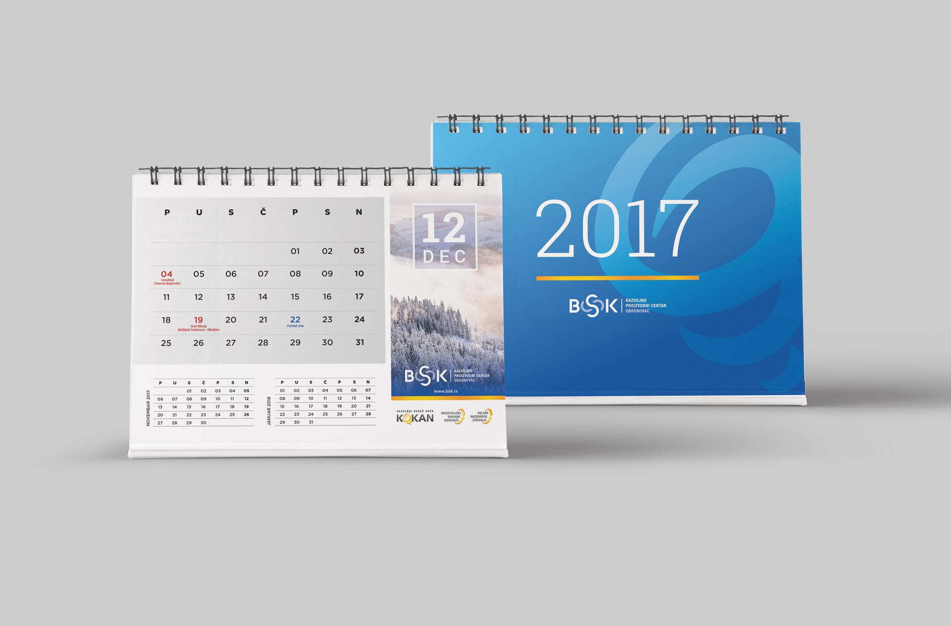 Dizajn i izrada stonog kalendara za Kokan vazdušni berač voća kompanije BSK iz Obrenovca