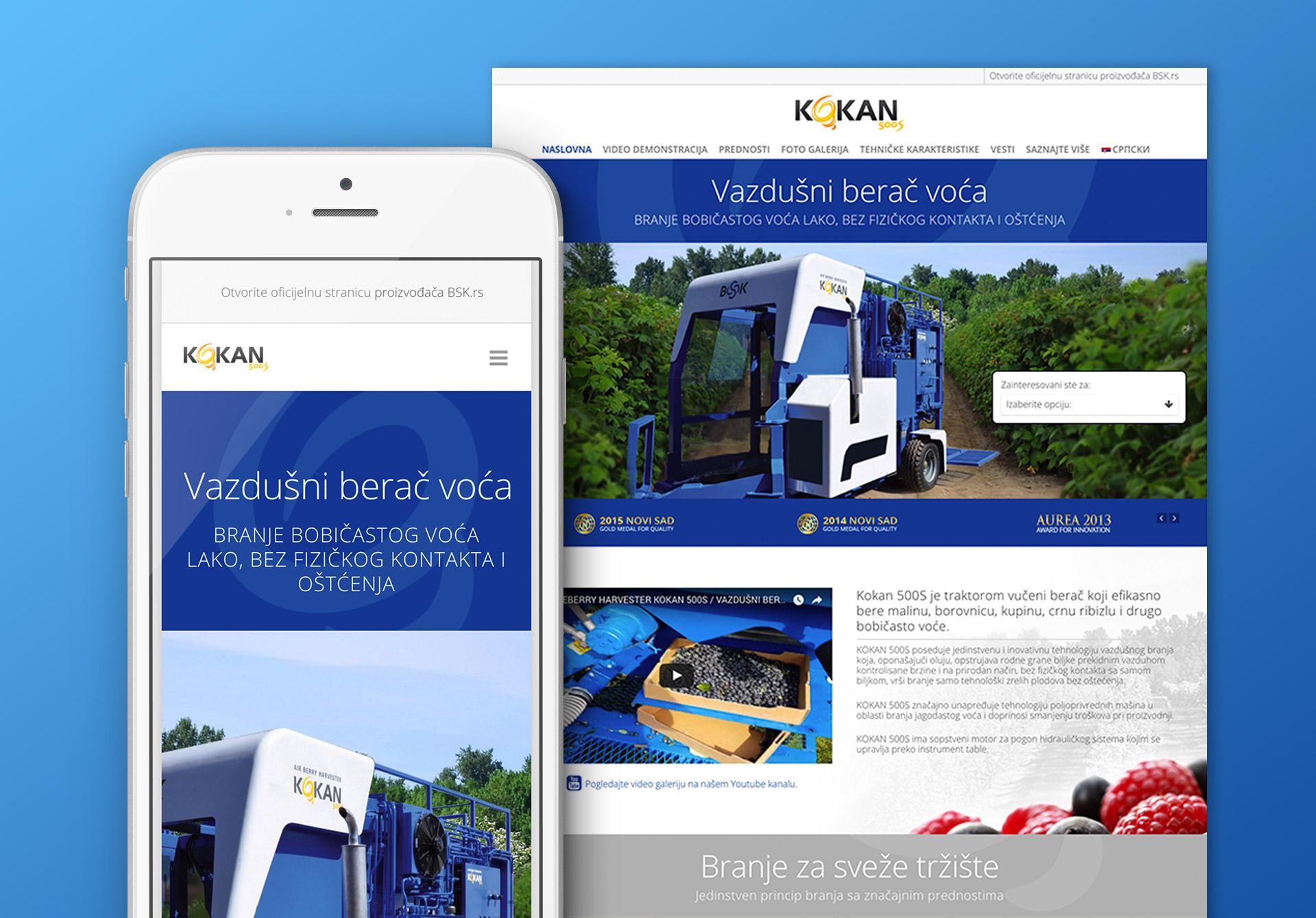 Dizajn i izrada landing stranice za Kokan vazdušni berač voća kompanije BSK iz Obrenovca