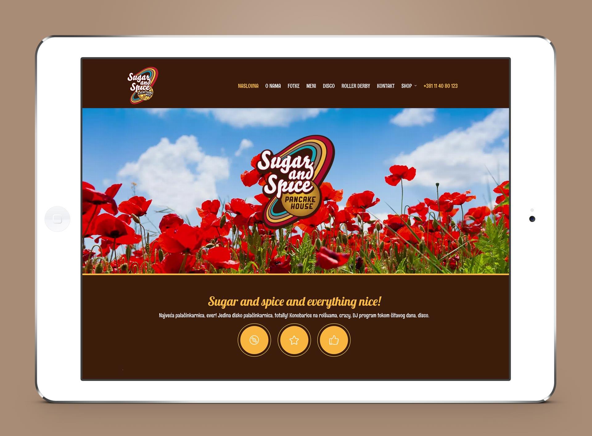 Dizajn web stranice za restoran Sugar and Spice
