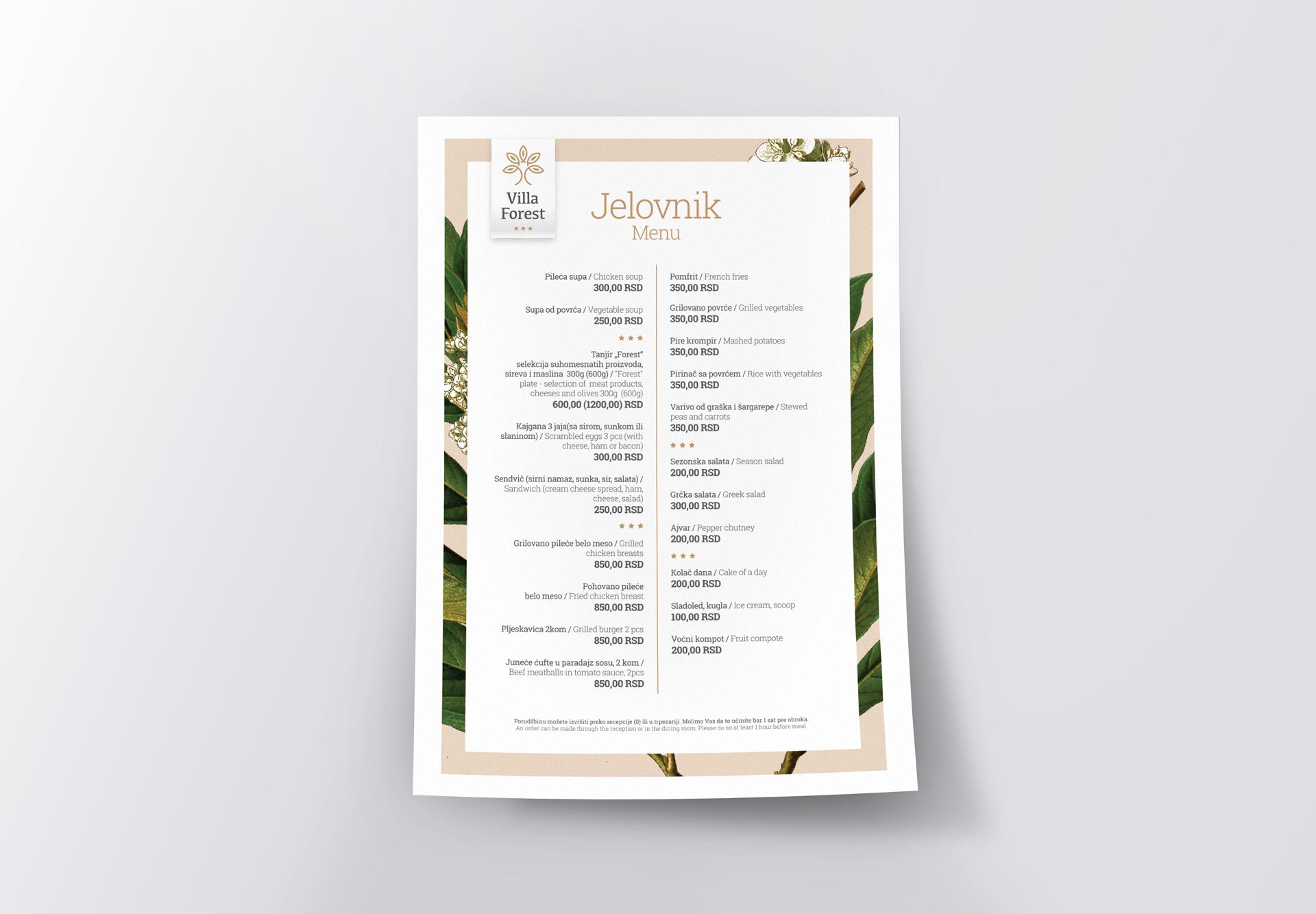 Dizajn A4 menija restorana hotela Villa Forest