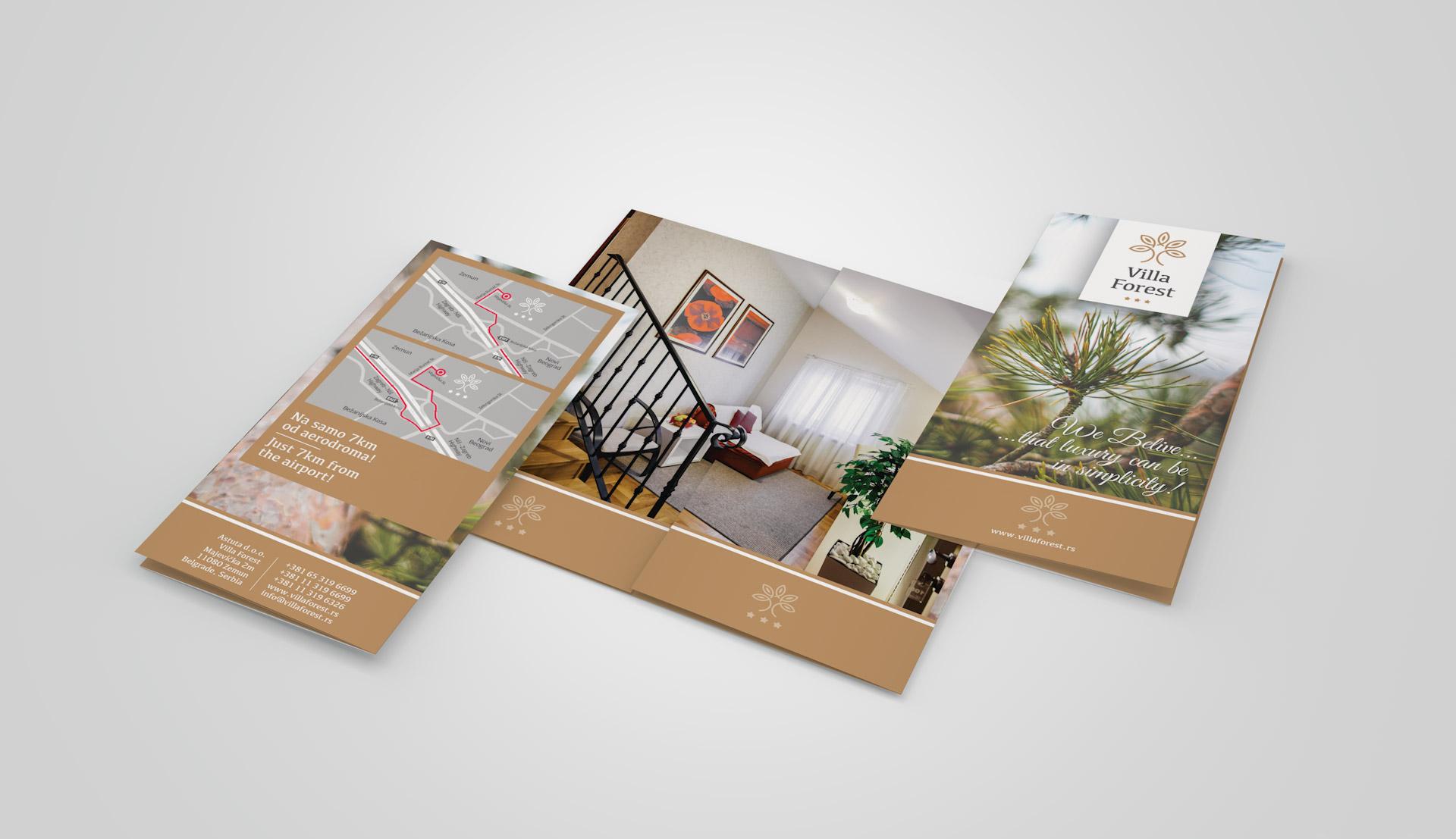 Dizajn elegantne brošure za apart hotel Villa Forest