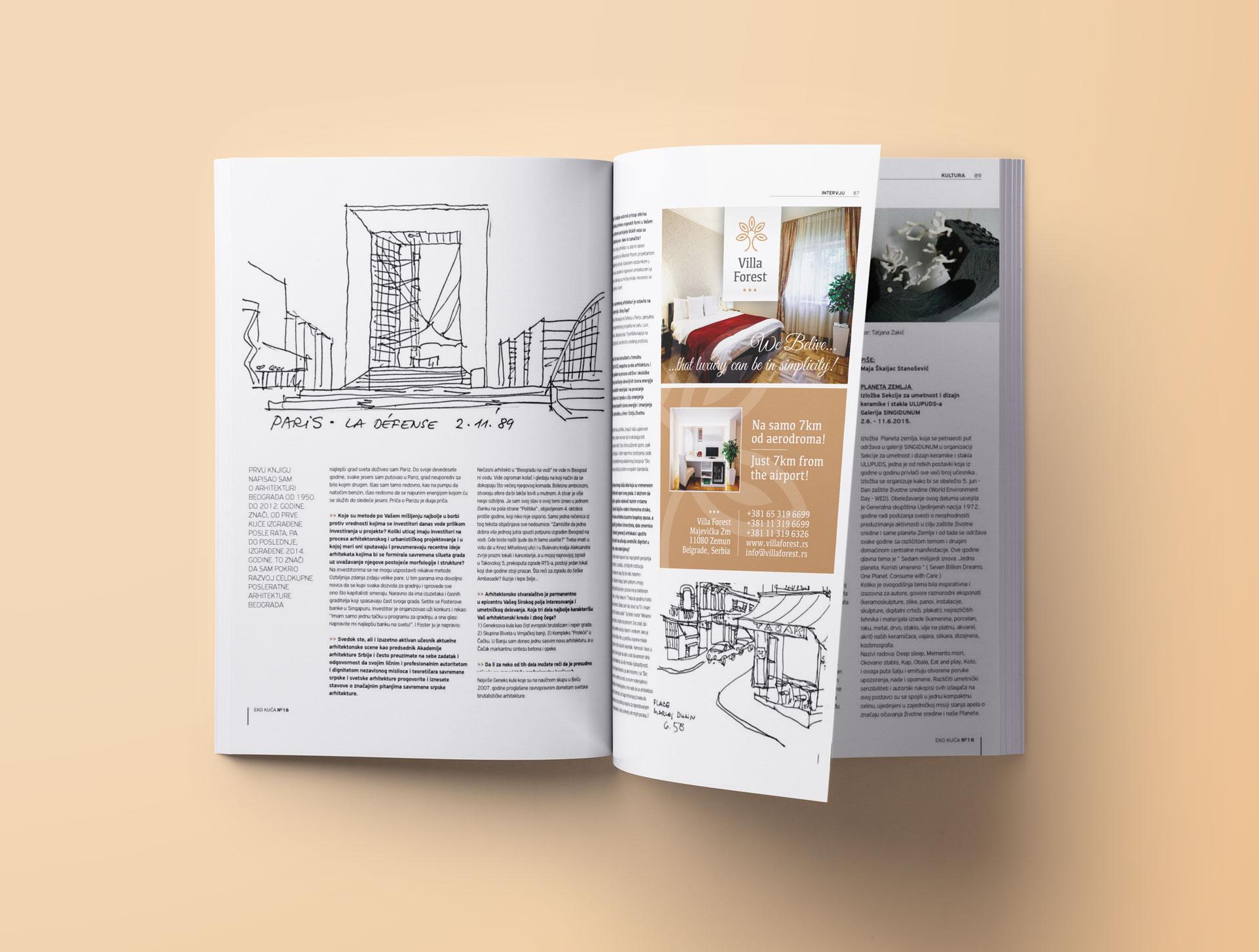 Dizajn novinskog oglasa za apart hotel Villa Forest