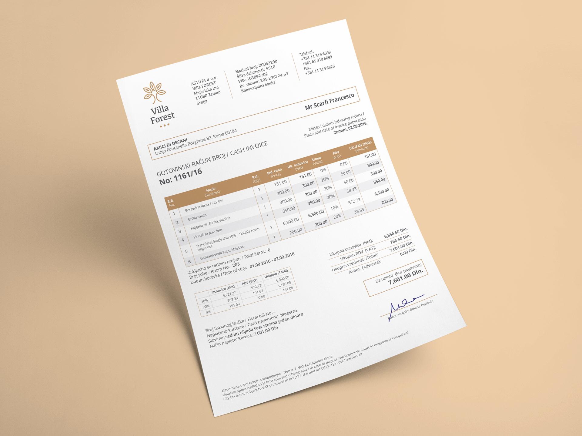 Villa Forest - dizajn računa i memoranduma