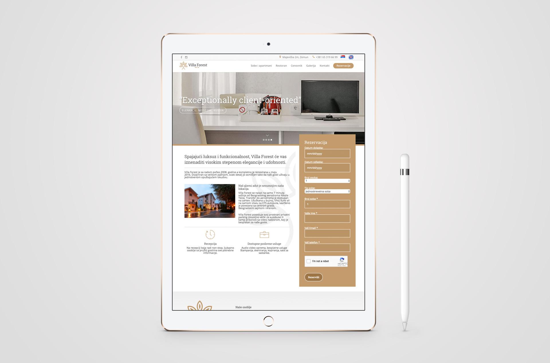 Dizajn responsive web sajta za hotel Villa Forest