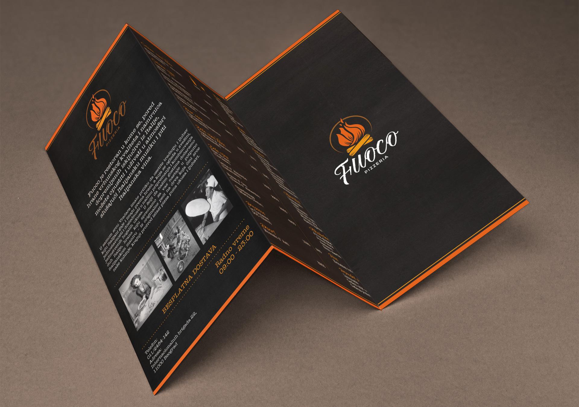 Dizajn brošure za italijanski restoran Fuoco, Beograd