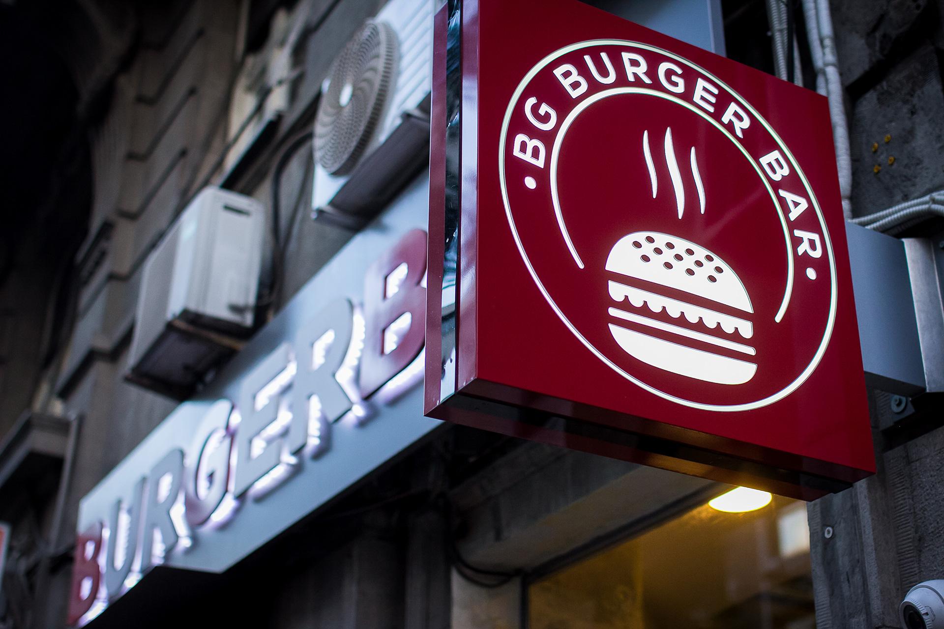 Dizajn animirane svetleće reklame za restoran BG Burger Bar, Beograd