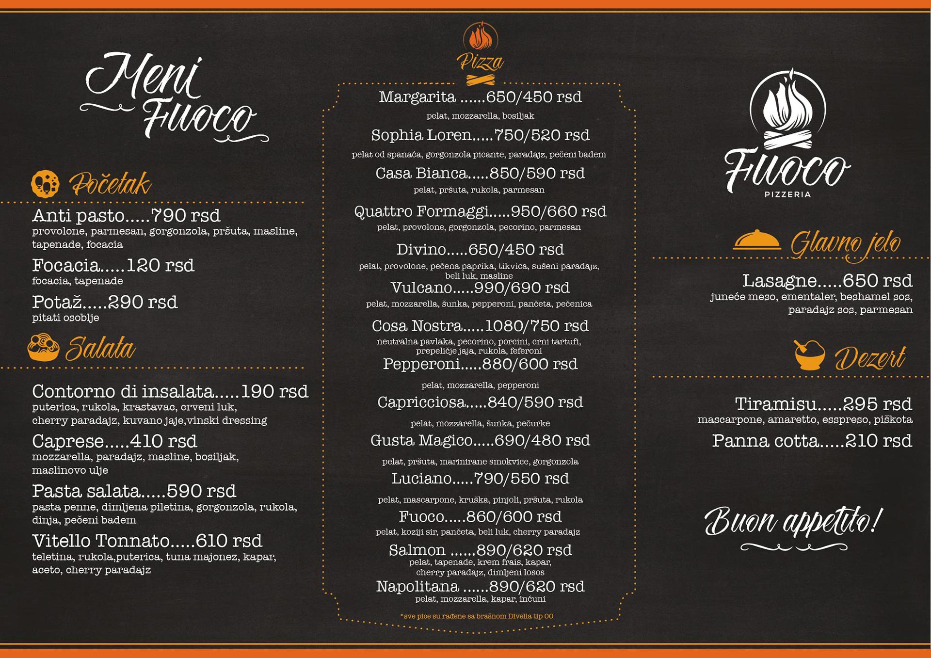 Dizajn menija za italijanski restoran Fuoco, Beograd