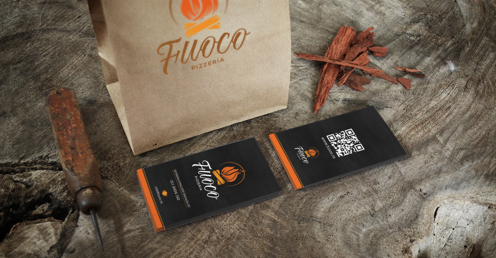 Dizajn vizit karte za italijanski restoran Fuoco, Beograd