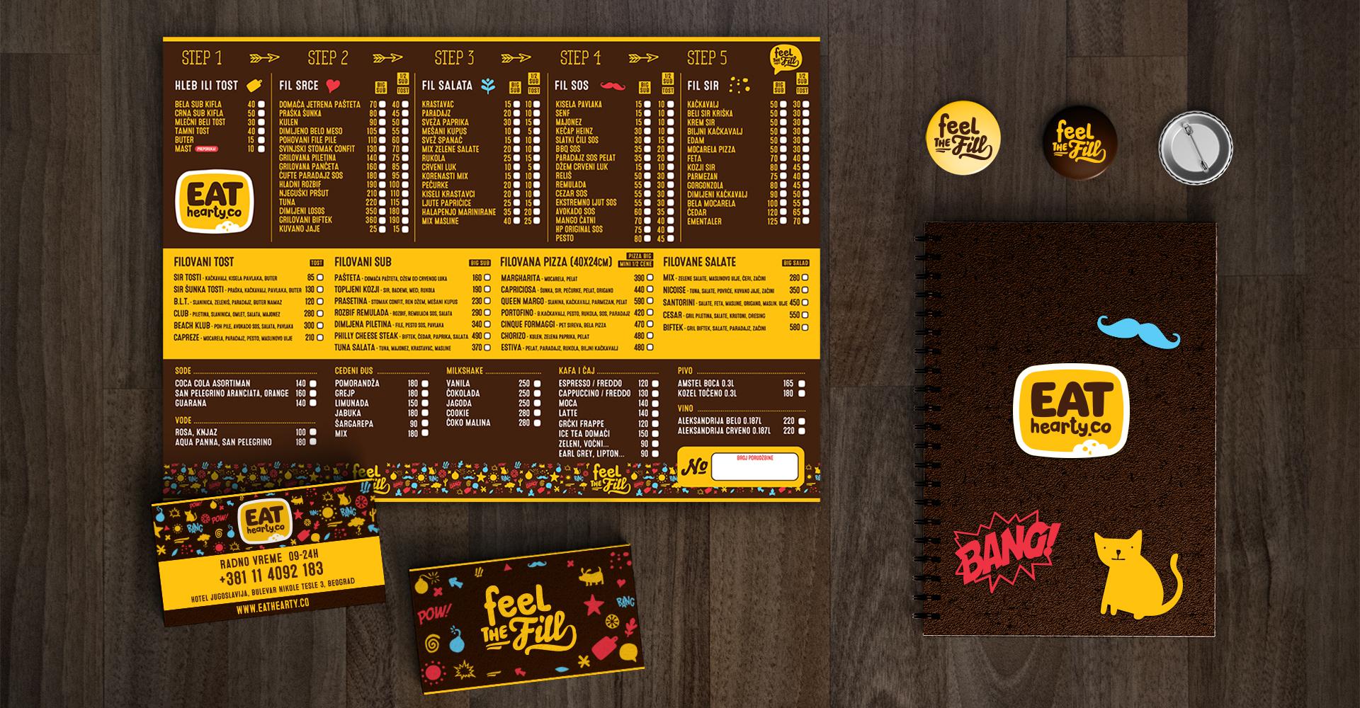 Dizajn vizuelnog identiteta restorana brze hrane Eat Hearty Co.