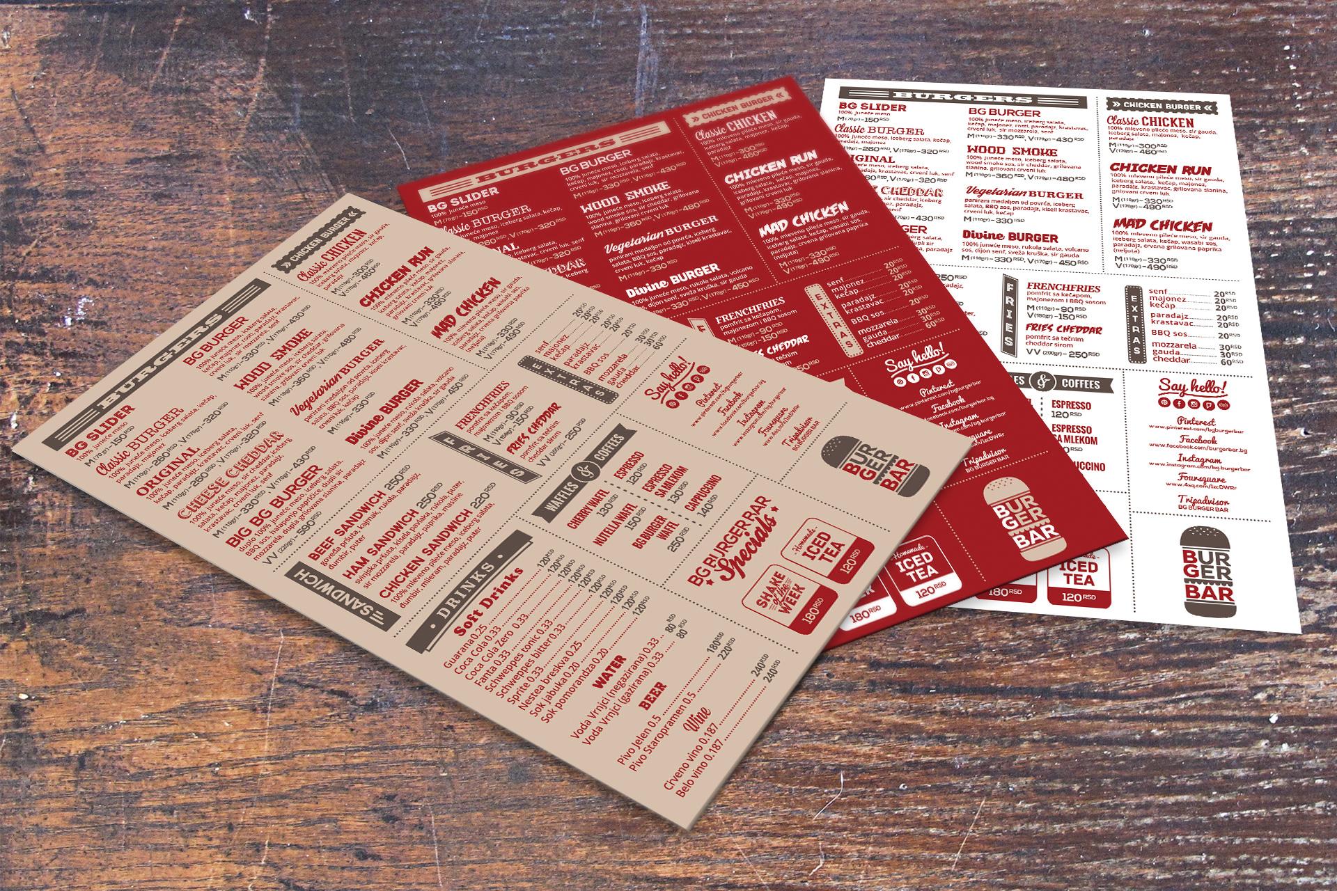 Dizajn menija za restoran BG Burger Bar