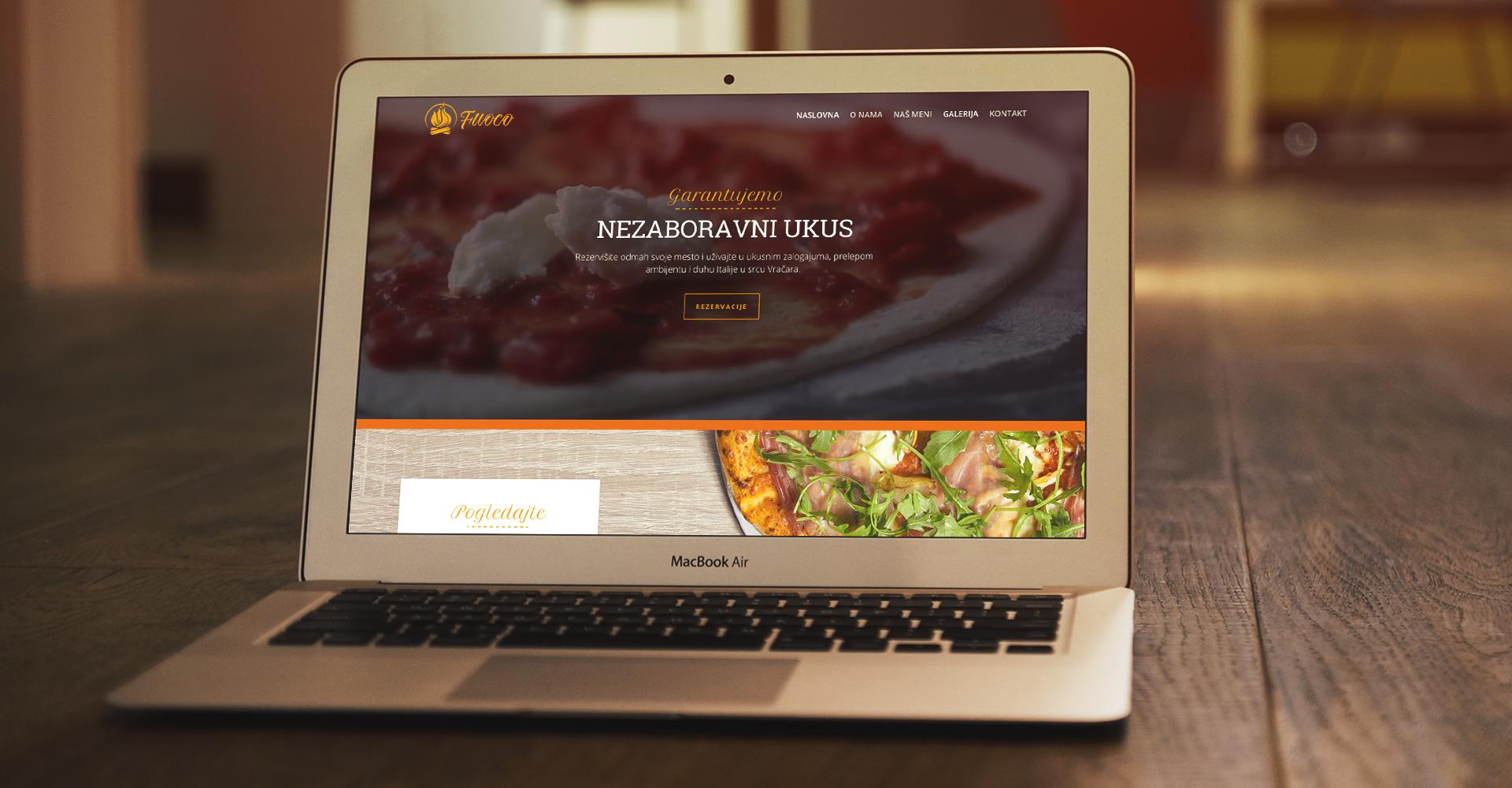 Dizajn web sajta za italijanski restoran Fuoco, Beograd