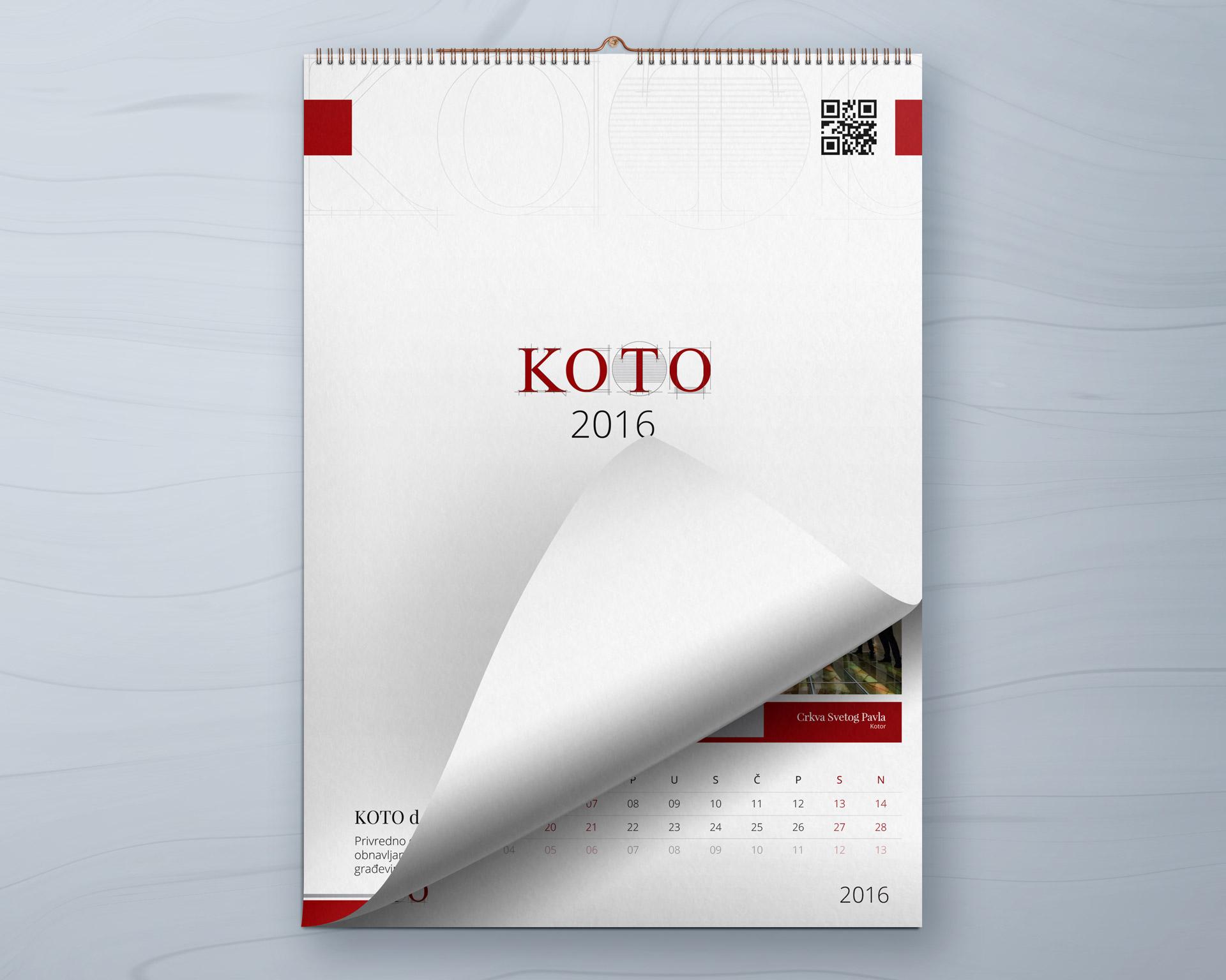 Dizajn i izrada zidnog kalendara za građevinsku firmu KOTO