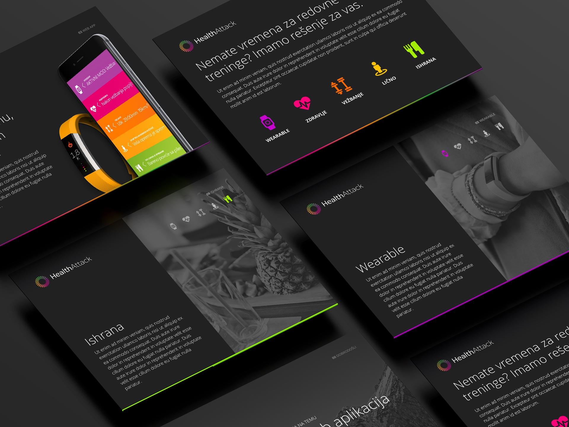 Dizajn prezentacije za Health attack aplikaciju
