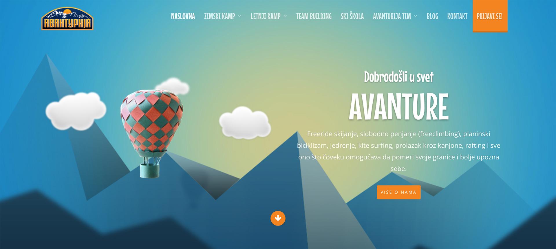 Dizajn web sajta za Avanturiju