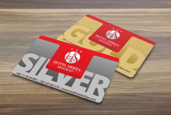 Dizajn srebrne i zlatne loyality kartice za Hotel Srbiju