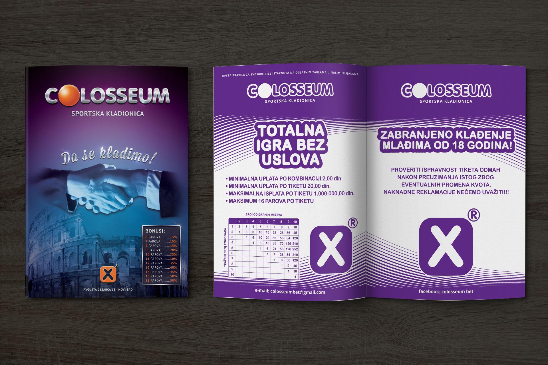 Dizajn liste za sportsku kladionicu Colosseum