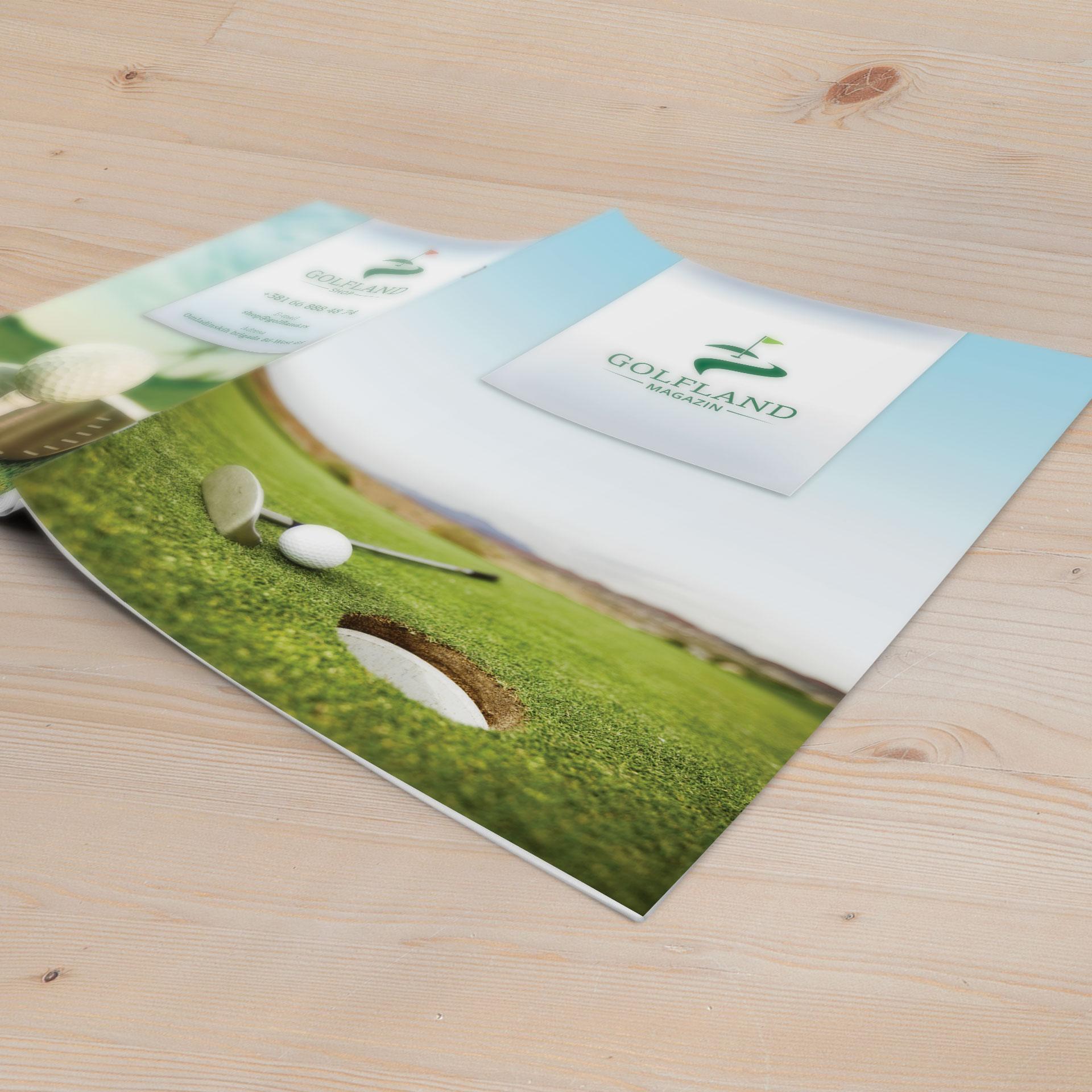 Dizajn korice brošure za Golfland Shop & Tour