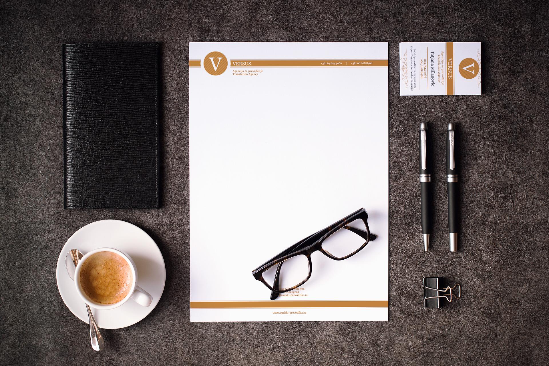 Dizajn poslovnih papira za sudskog prevodioca Versus