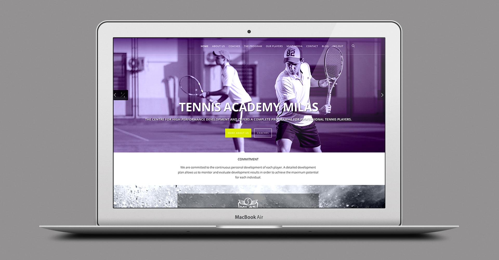 Dizajn i izrada web sajta za Milas tenisku akademiju