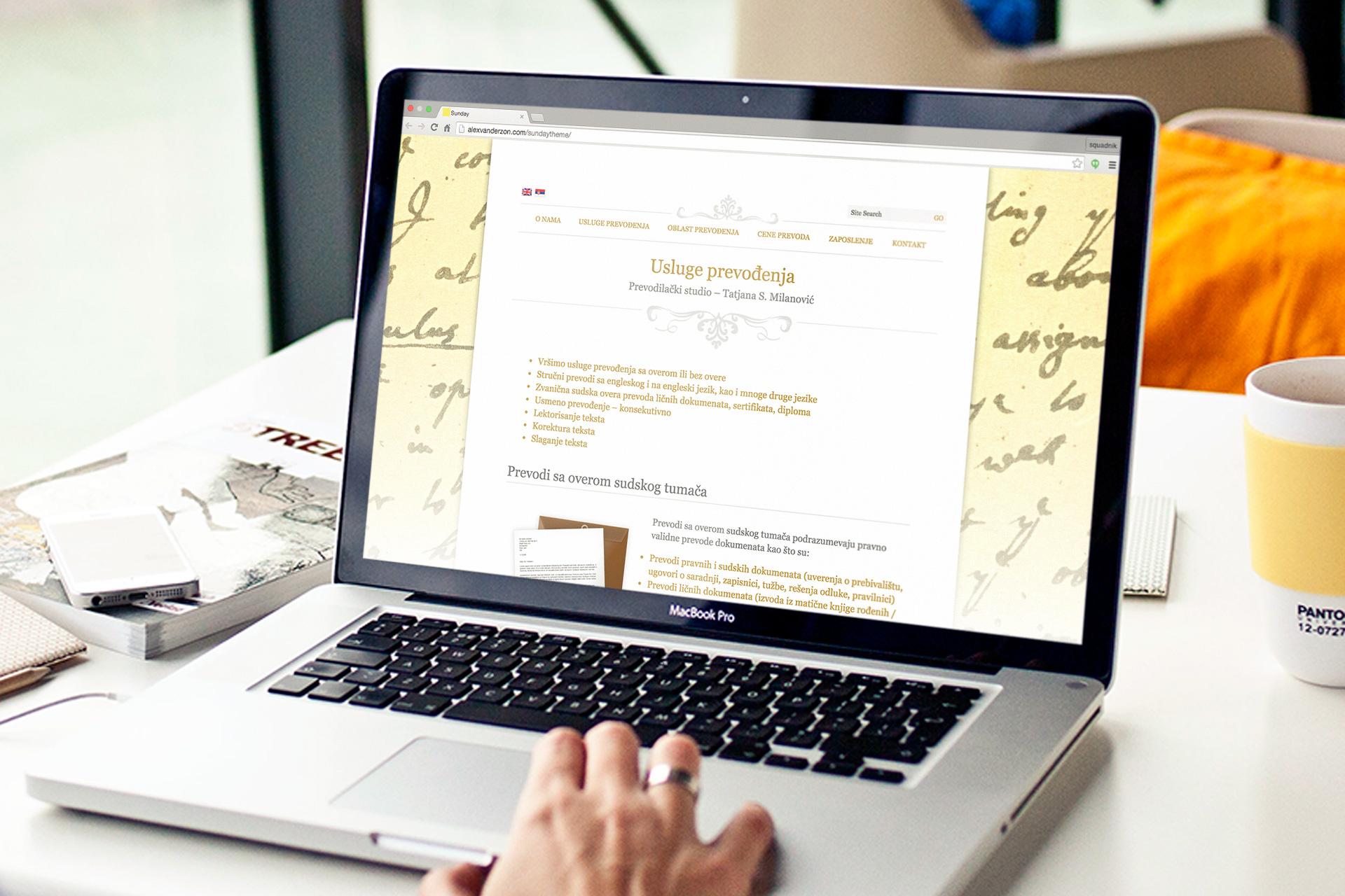 Dizajn i izrada web sajta za sudskog prevodioca Versus